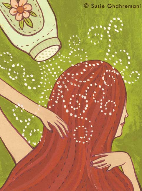 """DIY Dry Shampoo"" Beauty illustration for BUST Magazine ©Susie Ghahremani / boygirlparty.com"