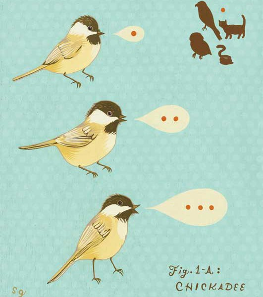 """What does ""chickadee"" mean to a chickadee?"" illustration by Susie Ghahremani for Chronicle Books"