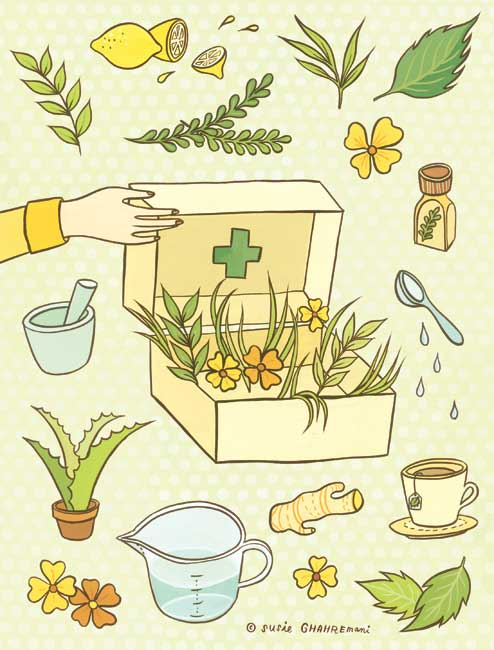Health & Wellness illustration about home remedies for common illnesses for the BUST DIY Guide to Life published by Abrams Books © Susie Ghahremani / boygirlparty.com