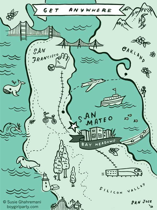 San Mateo Map © Susie Ghahremani / boygirlparty.com for Bay Meadows community