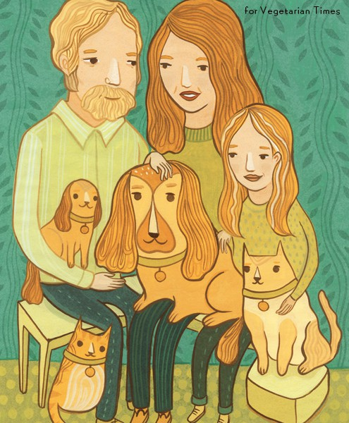 Adopting Shelter Pets, Illustration for Vegetarian Times by Susie Ghahremani / boygirlparty.com