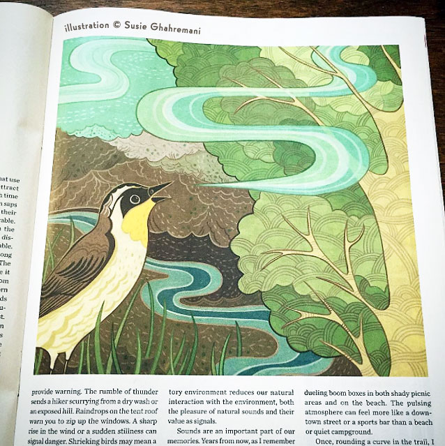 Susie Ghahremani artwork in Texas Co-Op Power magazine