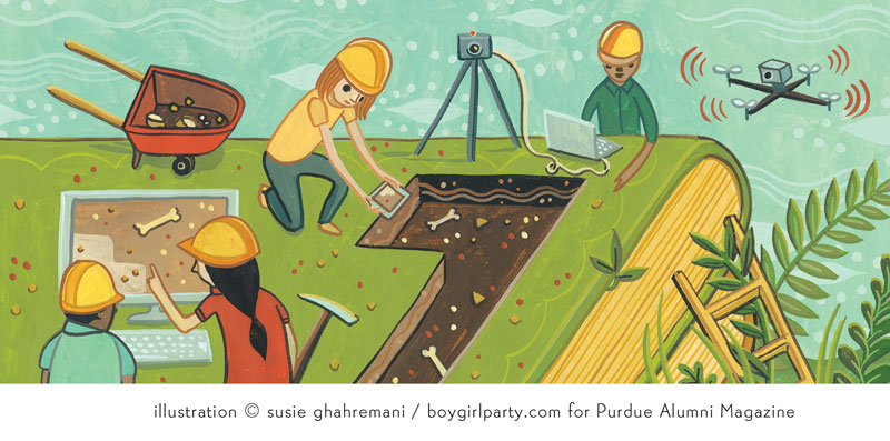 Using technology to mine books Susie Ghahremani illustration for Purdue Alumni Magazine (http://boygirlparty.com)