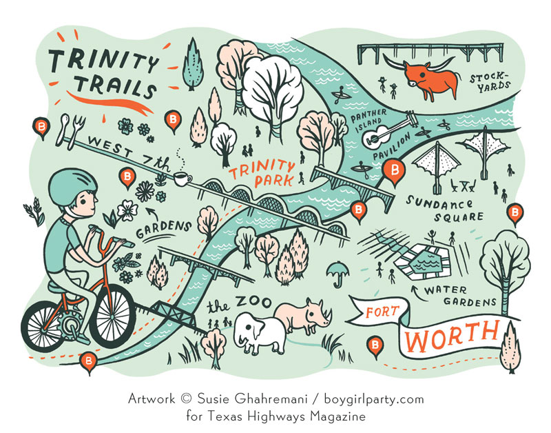 Fort Worth Bike Map for Texas Highways Magazine illustrated by Susie Ghahremani / boygirlparty.com