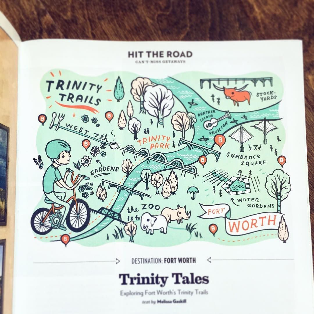 Trinity Trails in Texas Highways Magazine illustrated by Susie Ghahremani / boygirlparty.com