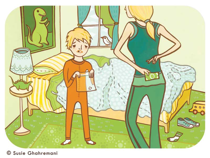 A Forgetful Tooth Fairy illustration for Parents Magazine ©Susie Ghahremani / boygirlparty.com