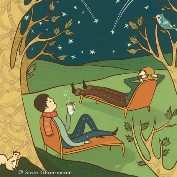Meteor Shower illustration for Rhode Island Monthly © Susie Ghahremani / boygirlparty.com