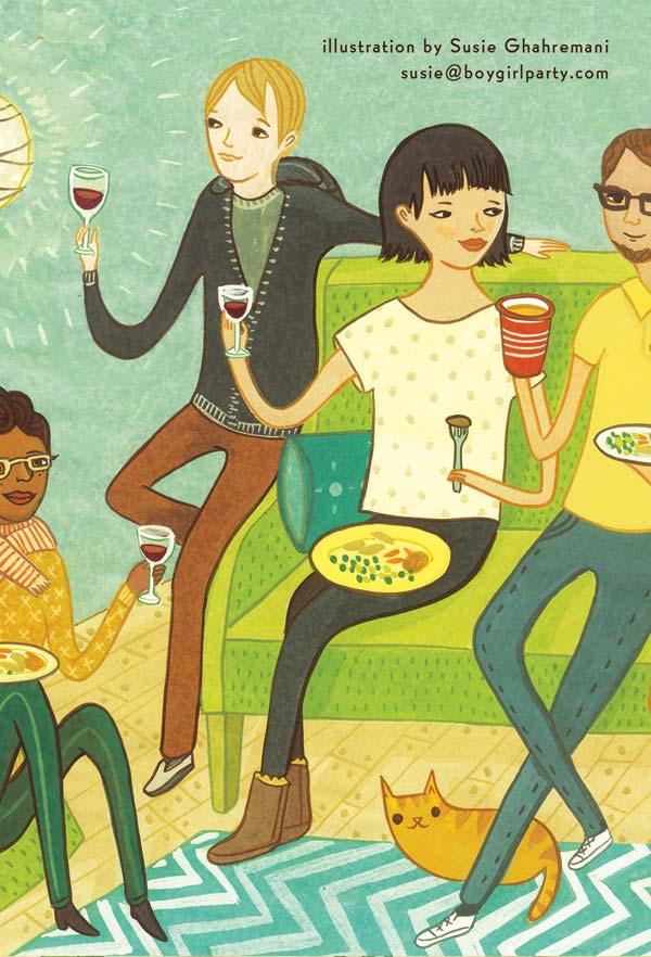 """Washington Post Editorial Illustration """"Friendsgiving"""" by Susie Ghahremani / boygirlparty.com"""