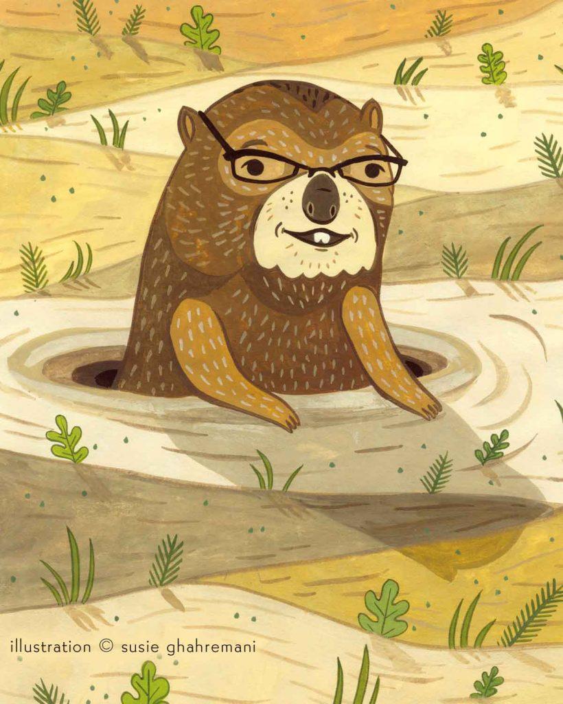 Groundhog Day -- funny editorial illustration by female illustrator Susie Ghahremani