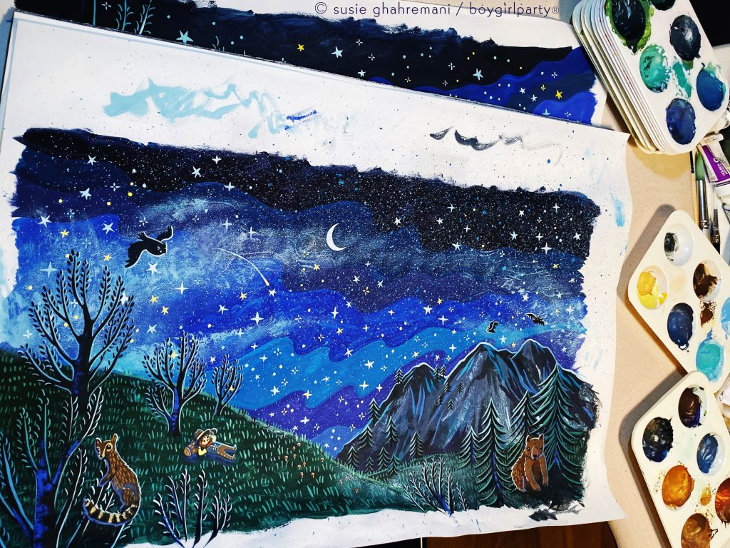 Susie Ghahremani paintings for Little Muirs Night picture book
