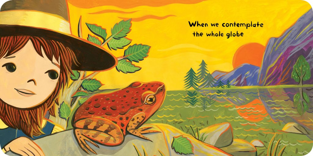 The California Red-Legged Frog, our state amphibian!, is pictured in Little Muir's Night - a picture book illustrated by Susie Ghahremani