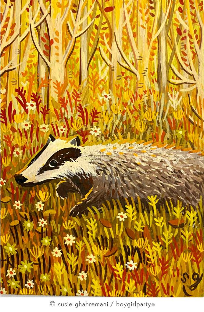 Badger Miniature Painting by Susie Ghahremani, a Children's Book Illustrator at boygirlparty.com