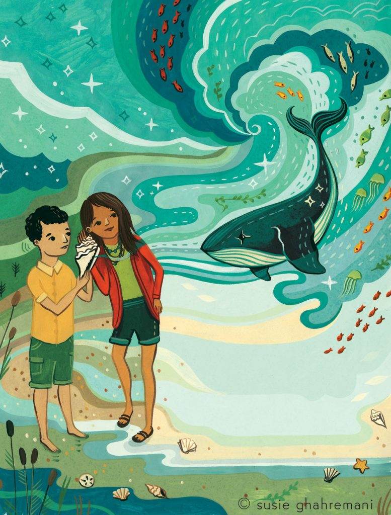 Carrying Our Words illustration by Susie Ghahremani of two Indigenous children listening to seashells and hearing the ocean
