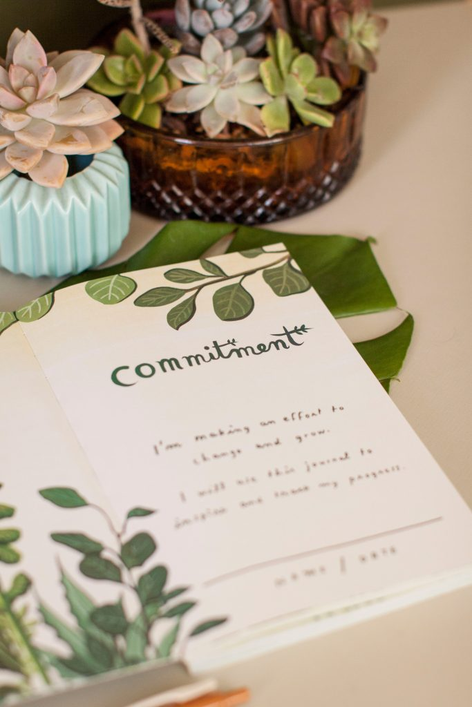 Interior lettering and illustration of botanical gift journal by Susie Ghahremani