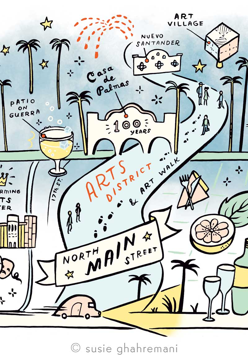 Travel Map Illustration and sketches by Susie Ghahremani